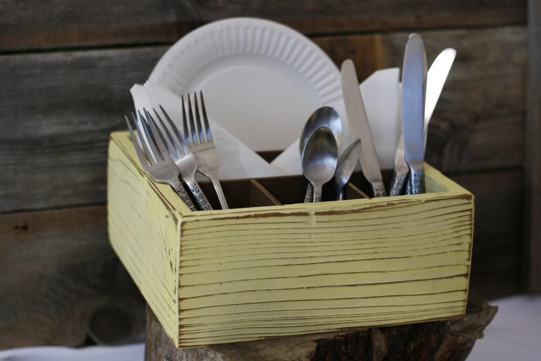 napkin silverware utensil paper plate holder box handmade. Black Bedroom Furniture Sets. Home Design Ideas