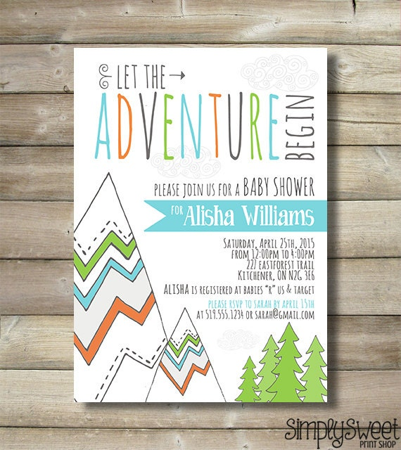 adventure baby shower invite invitation boy mountain trees tribal
