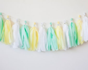 Mint, Yellow, White Tassel Garland (12)