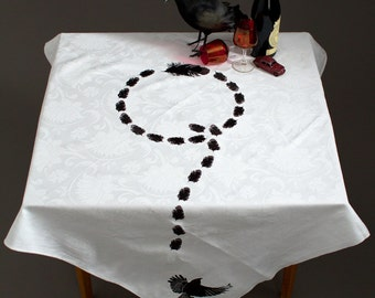 Embroidered  white damask tablecloth upcycled with embroidered crow feathers and flying crows in black and grey Unique OOAK.