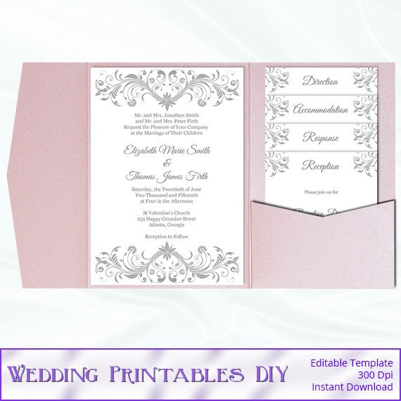 pocket fold wedding invitation set diy silver gray