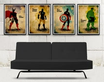 Superheroes Avengers Minimalist Movie Poster Set \ 4 Poster