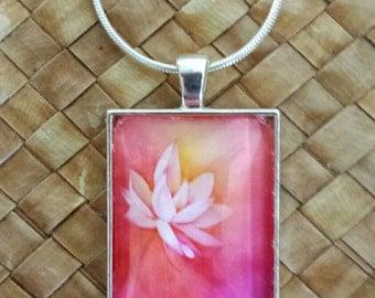 Lotus watercolor rectangle glass pendant & snake chain.