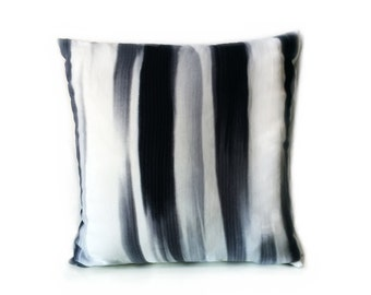 Black White & Grey Monochrome Abstract Stripe Print Cushion Throw Pillow Cover 16x16 or 18x18 inches