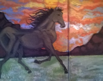 Wild Beauty at the Sunset landscape mural painting