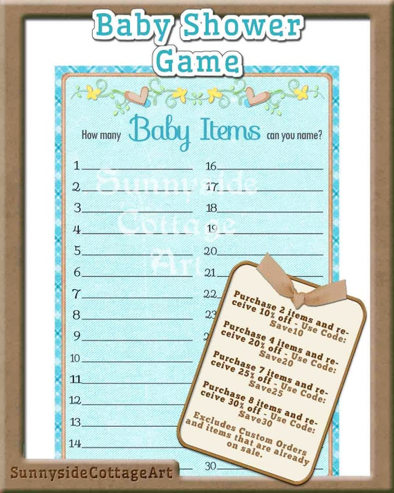 shower game blue baby shower game how many baby items can you list
