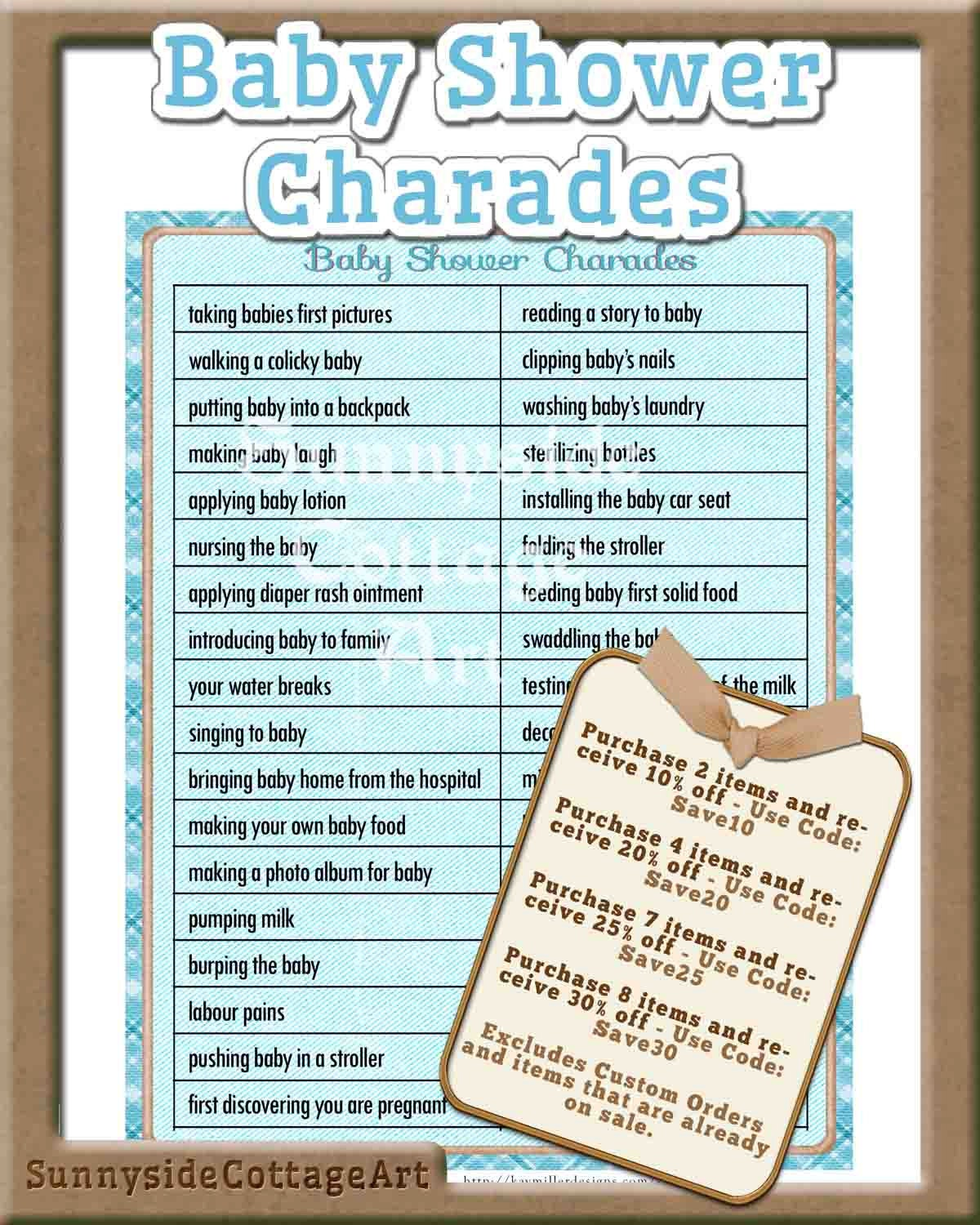 charades baby shower game printable by sunnysidecottageart on etsy