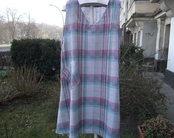 Linen pointy dress Gr. 48-52, vest, purple, grey, large size by himmeldurchnadeloehr