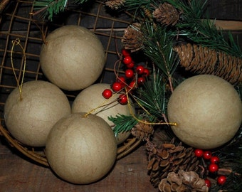 "12 unfinished Paper Mache Ball Ornaments - approx. 2-1/2"" - ready to paint or decoupage"