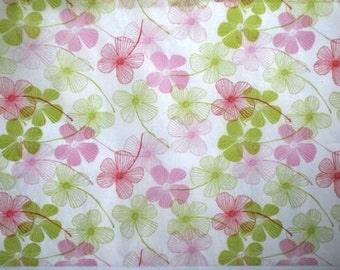 "Pink & Green Flower Tissue Paper #281 / Gift Wrap ... 10 Large Sheets - 20"" x 30"" -- Floral"
