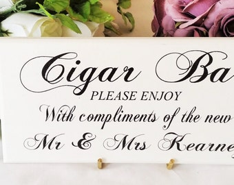 Wedding Signs, Cigar Bar, Personalized, Newly Wed Name, Custom Sign, Wedding Decor, Cigar Station, Signage, Shabby Chic, or, Plain Off White