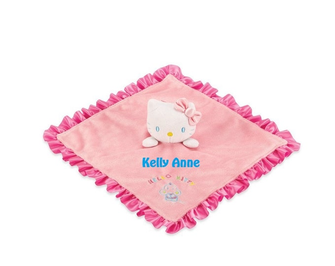HK Kitty Baby Snuggle Lovey Blanky Security Blanket Crib toy - Personalized