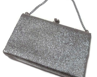 1960s Silver Lamé Evening Bag