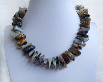 Agate AAA Natural Genuine Nugget Slices with Faceted Black Onyx 925 Sterling Silver Statement Necklace