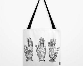 Palm Reading Tote Bag - Palmistry Tarot Print Tote Bag - Book Bag - Eco-friendly Bag - Shopping Bag - Graphic Tote
