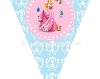 Instant Download, Aurora, Sleeping Beauty Birthday Banner, Disney Princess, Kid's Birthday Party