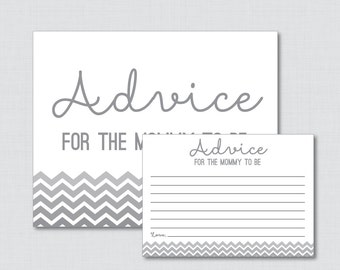 Advice for Mommy to Be Cards and Sign in Gray Ombre Chevron - Printable Gray Baby Shower Advice for Mom, Advice for New Parents - 0017-G