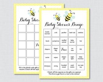 Bumble Bee Baby Shower Bingo Cards in Yellow - Printable Blank Bingo Cards AND PreFilled Bingo Cards - Bumble Bee Baby Bingo - 0021