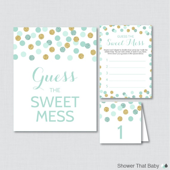 mint and gold baby shower diaper candy bar game printable guess the