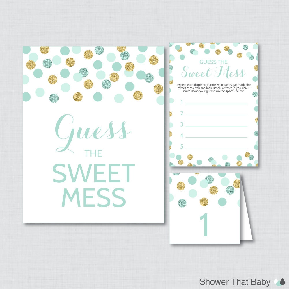 mint and gold baby shower diaper candy bar game printable