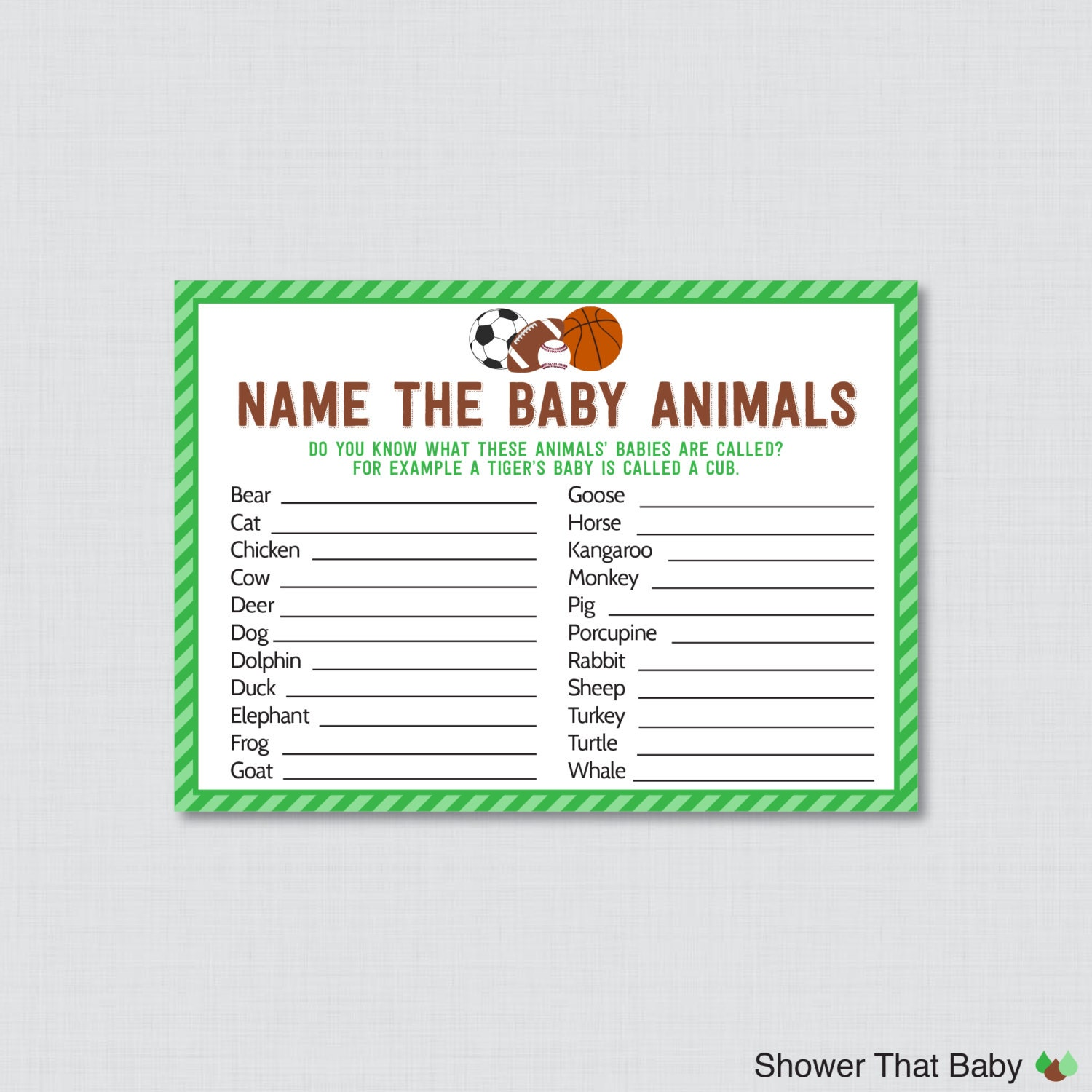 sports themed baby shower baby animals name game printable