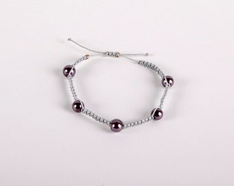 Handmade Silver and Purple Pearl Macramé Bracelet