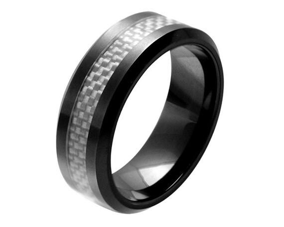 Mens engagement ringmens ceramic wedding ring by simplenunique for Ceramic mens wedding rings