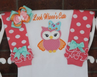 Baby Girl Owl Outfit! Baby Owl Look Who's Cute Outfit/Pink and Orange Owl Outfit/Girls Owl Outfit/Baby Shower Gift/Owl Leg Warmer Outfit