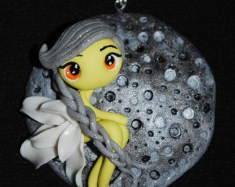 Polymer clay Moon Fairy necklace