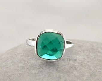 Silver Ring, Gemstone Ring, Teal Quartz Ring Faceted 10mm Cushion Gemstone 925 Sterling Silver Bezel Ring Jewelry - #1166