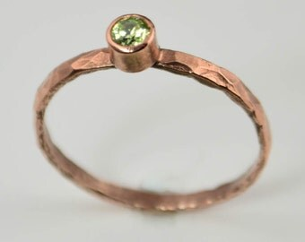 Copper Peridot Ring, Classic Size, Stackable Ring, Peridot Mother's Ring, August Birthstone Ring, Copper Jewelry, Peridot Ring, Pure Copper