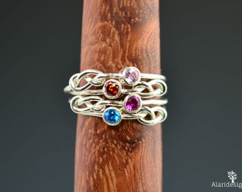 Grab 4 Silver Infinity Mother's Rings, Infinity Ring, Stacking Mothers Ring, Infinity Knot Ring, Stacking Rings, Silver Knot Ring, Mom Ring