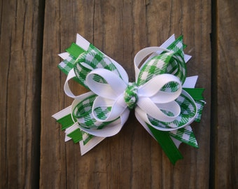 St. Patrick's Day Stacked Boutique Bow; Green and White Plaid Bow