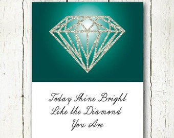motivational quote poster office wall art teal, diamond printable, diamond quote digital download, office quotes instant download glitter