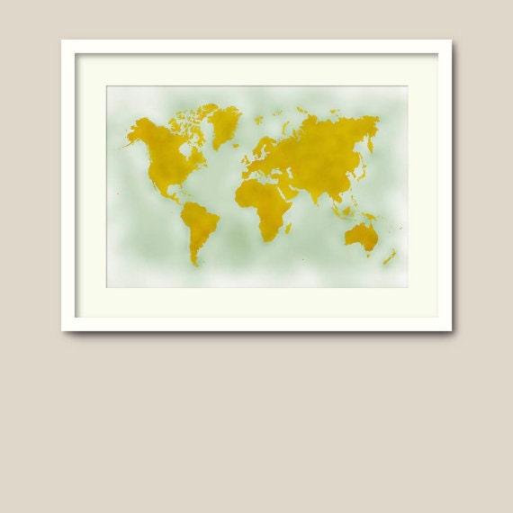 Large World Map Pdf Large World Map Poster Mustard