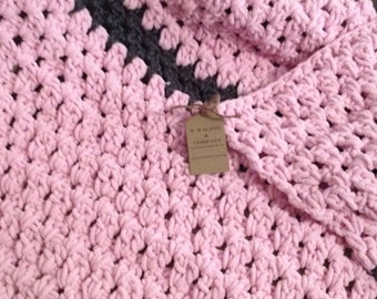 Pink and Grey Extra Chunky Crochet Baby Blanket