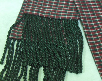Burgundy, Green and White Plaid Cotton Sash w/Green Fringe for Pirate, Ren Faire, Cosplay