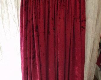 Dark Red Panne Stretch Velvet Full Skirt with Elastic Waist, Size L/XL