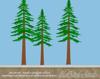 Pine Trees Decal, FABRIC Wall Decal, REUSABLE DECAL