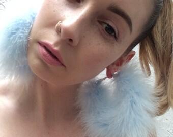 Handmade **Baby Blue** Marabou Feather fluffy large gold hoop earrings