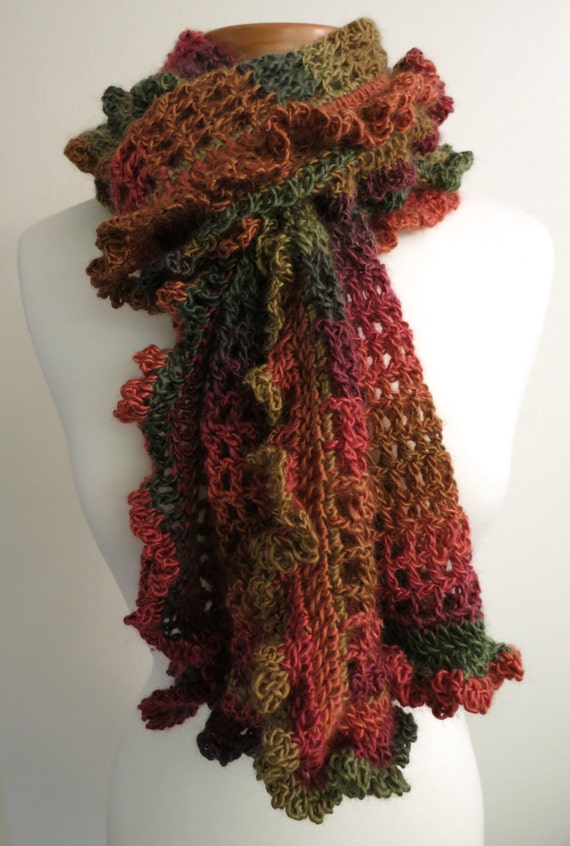 crocheted ruffle scarf in fall colors