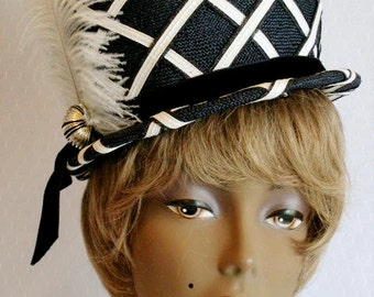 Vintage Ladies Hat * Navy Blue & White * Bowler Derby Style * Cruise * Weddings, Showers, Luncheons, Derby, Prom, Graduation, Holidays