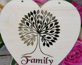 Beautiful Heart with family tree detail