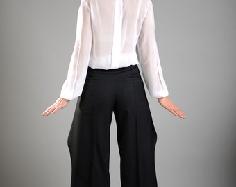 Black Pants, Maxi Pants, Loose Pants, Long Pants, High Waisted Pants, Wool Pants, Womens Trousers, Suit Pants, Classic Pants, Elegant Pants