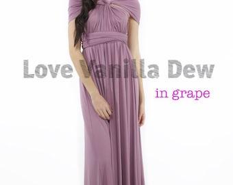Bridesmaid Dress Infinity Dress Grape Purple Floor Length Maxi Wrap Convertible Dress Wedding Dress