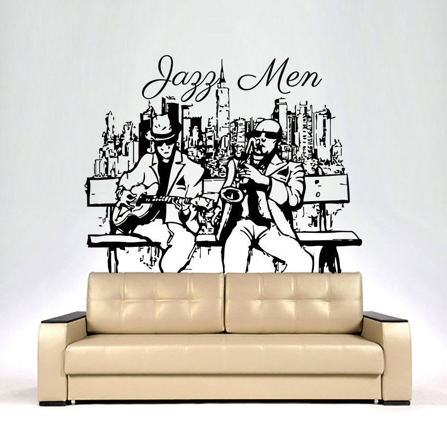 wand aufkleber musik jazz m nner aufkleber vinyl von cozydecal. Black Bedroom Furniture Sets. Home Design Ideas