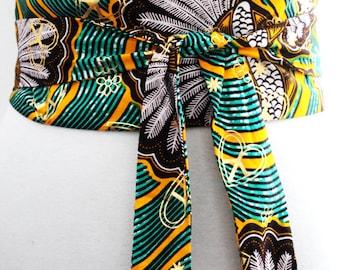 Turquoise Print Obi Belt l African Print Obi Corset Belt   Ankara Wax Print Belt   Wax Print Corset Belt   Plus size belts   African Print
