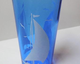 Hazel Atlas Cobalt 'Ritz' BLUE Glass SAILBOAT Drinking Glass
