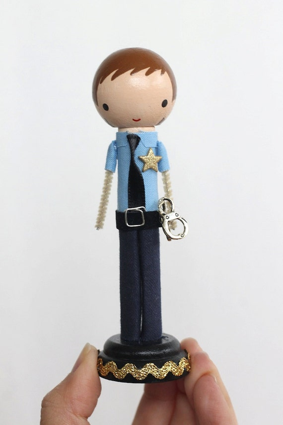 Items Similar To Custom Police Clothespin Peg Doll On Etsy