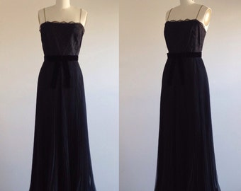 Black dress- Lace dress-Black evening gown-Formal evening dress-Black tie dress-Black gown- Chiffon gown- 1960s dress-Medium-Dress with bow